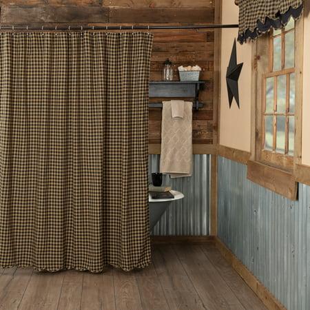 - Raven Black Primitive Bath Cody Black Check Rod Pocket Cotton Button Holes for Shower Hooks Check Shower Curtain