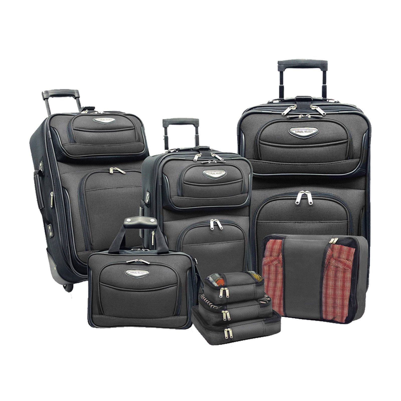 Travelers Choice Travel Select Amsterdam 8-Piece Softshell Deluxe Expandable Rolling Luggage Set with Packing Cubes