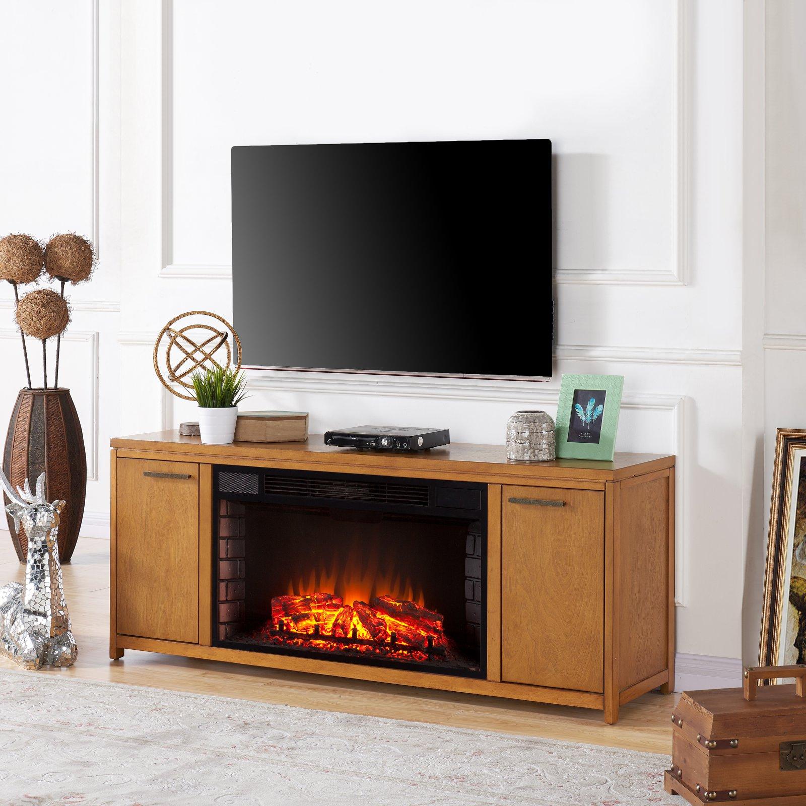 Southern Enterprises Lymden Electric Fireplace TV Stand - Oak