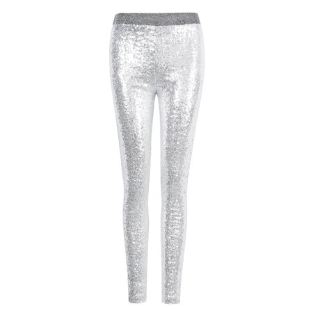Silver Tights (Women Shiny Sequin Stretch Tights Skinny Legging Pant Sliver)