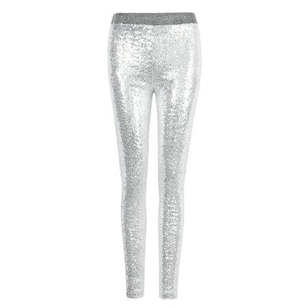 Women's Embellished All Over Sequin Sparkle Dance Leggings Sliver M (Sequined Leggings)