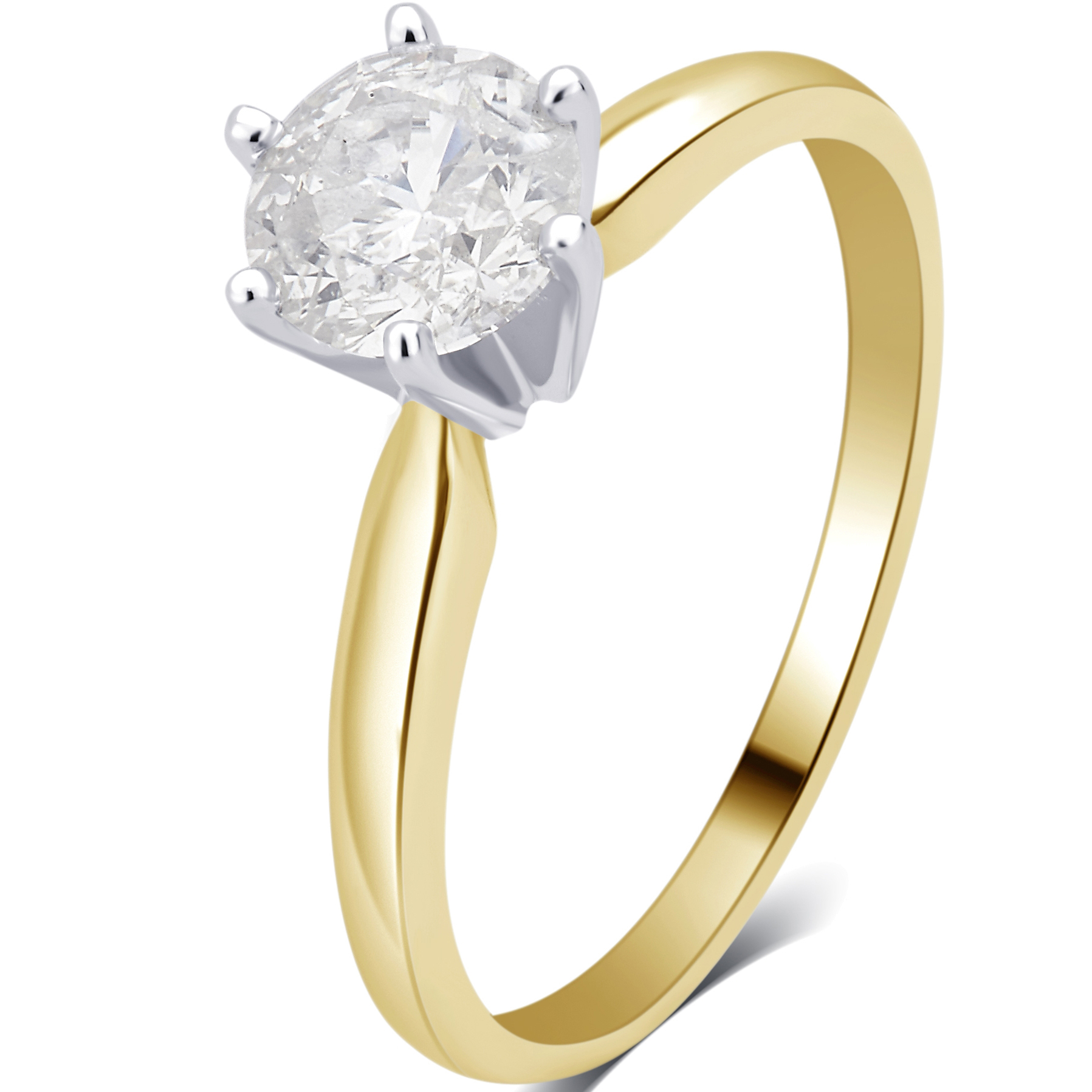 3 4 Carat T.W. Round Diamond 14K Yellow Gold Solitaire Engagement Ring by Generic