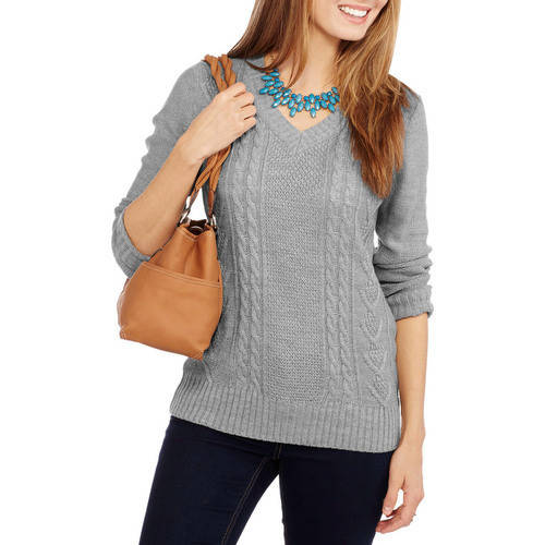 Faded Glory Women's Cable Front V - Neck Pullover Sweater