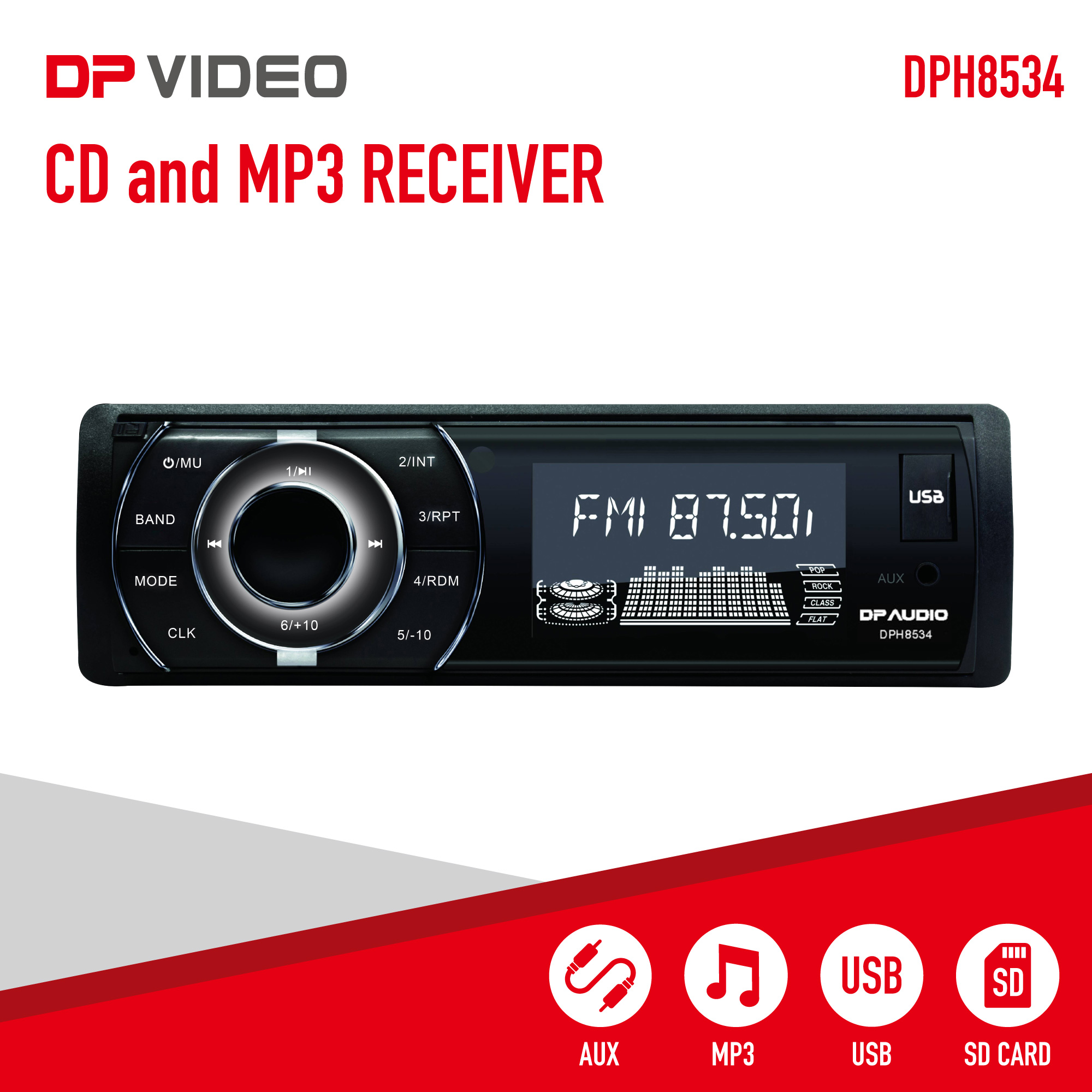 DP Audio Video DPH8534 Car Stereo Single Din CD and MP3 Receiver with AM/FM tuner
