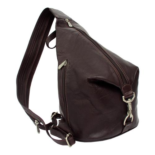 Piel Leather Three-Zip Hobo Sling Backpack Saddle