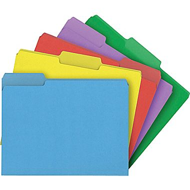 Staples Heavyweight Colored File Folders 3 Tab Letter 50Box