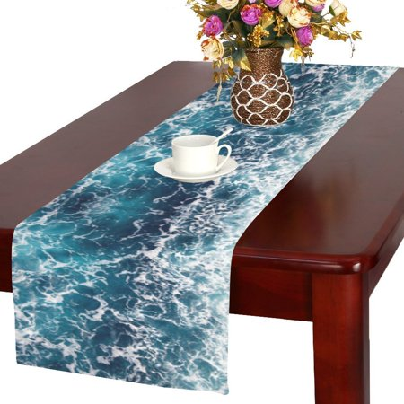 MYPOP Ocean Wave Dancing Table Runner Placemat 16x72 inches, Tropical Sea Water Tablecloth for Office Kitchen Dining Wedding Party Home Decor](Center Table Decor)