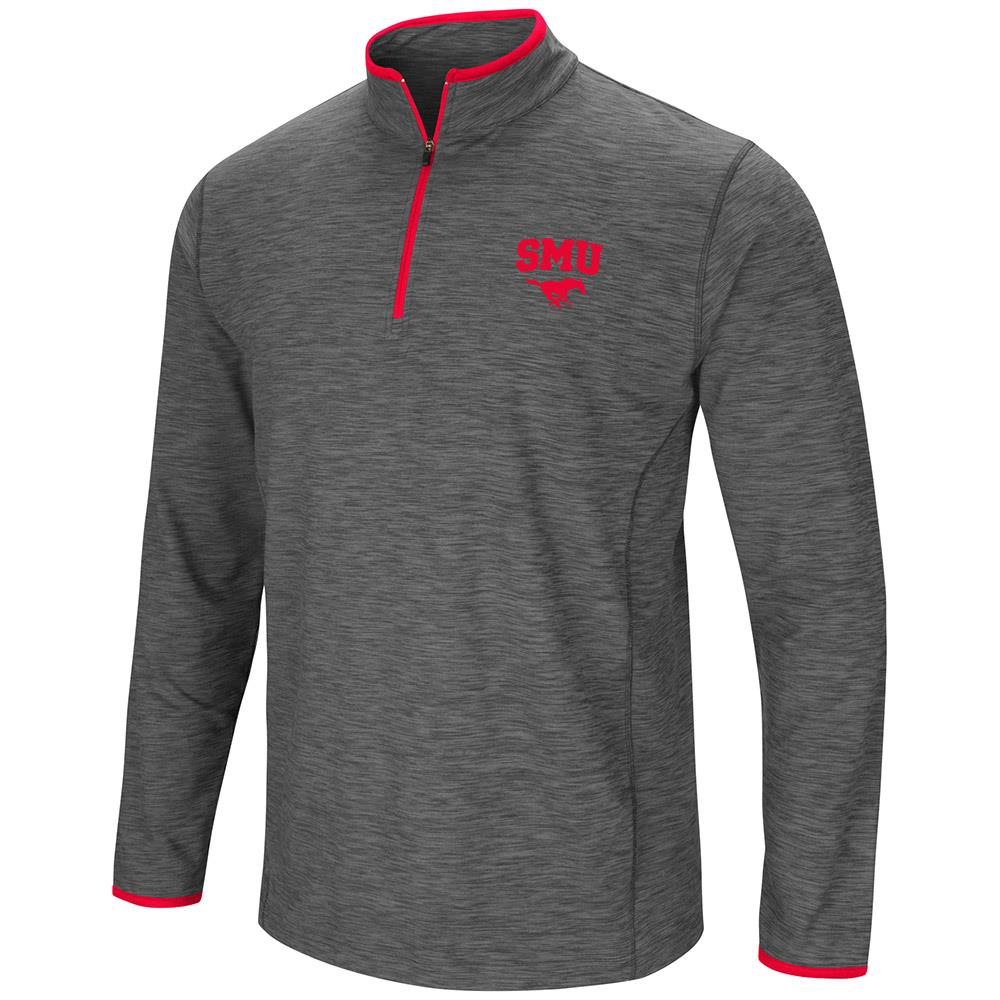 Mens NCAA SMU Mustangs Action Pass Long Sleeve Quarter Zip Wind Shirt