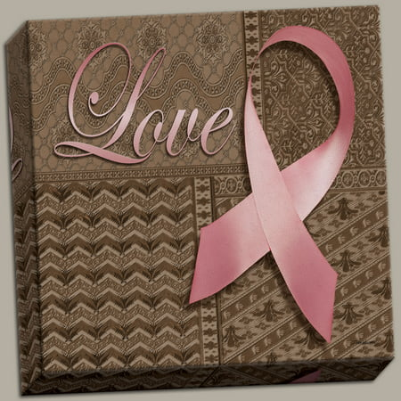 Breast Cancer Awareness Bows (Love~ Pink Ribbon Breast Cancer Awareness Canvas; One 12x12 Hand-Stretched)