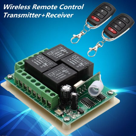 12V 4CH Channel Relay RF Wireless Remote Control Switch 2 Transmitter+Receiver Widely Use in House/Mall/Factory/Anti-theft Alarm (4 Channel Remote Control System For Relays)
