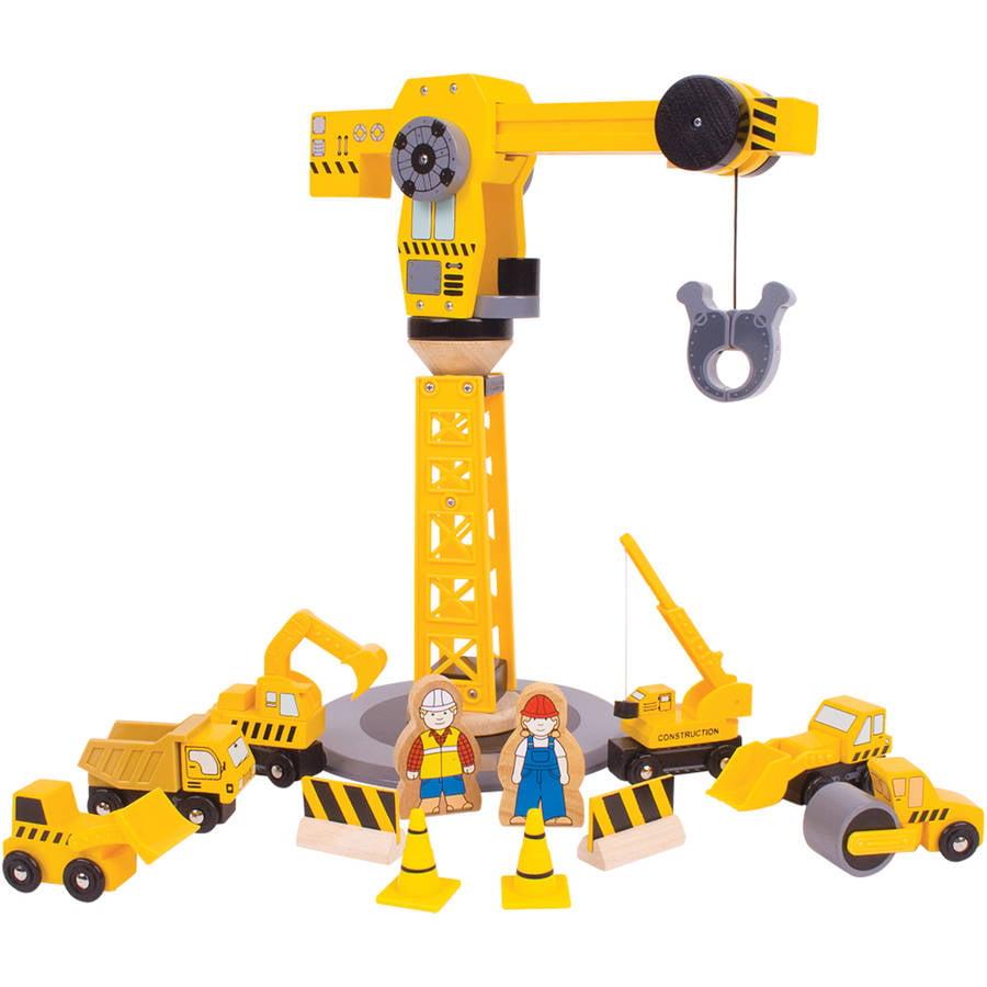 Bigjigs Rail Big Yellow Crane Wooden Accessory For Child Toy Train Set