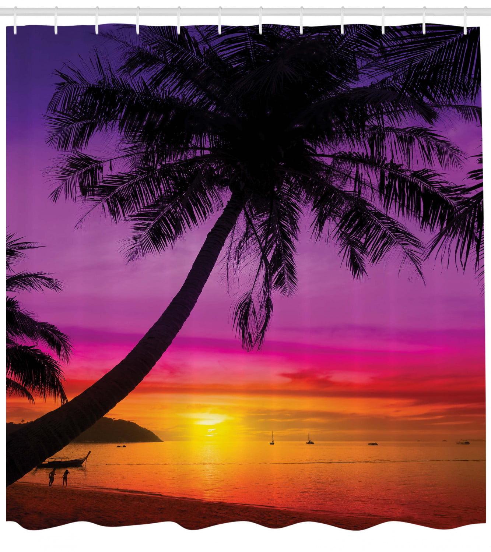 Tree Shower Curtain Palms Silhouette Purple Print for Bathroom