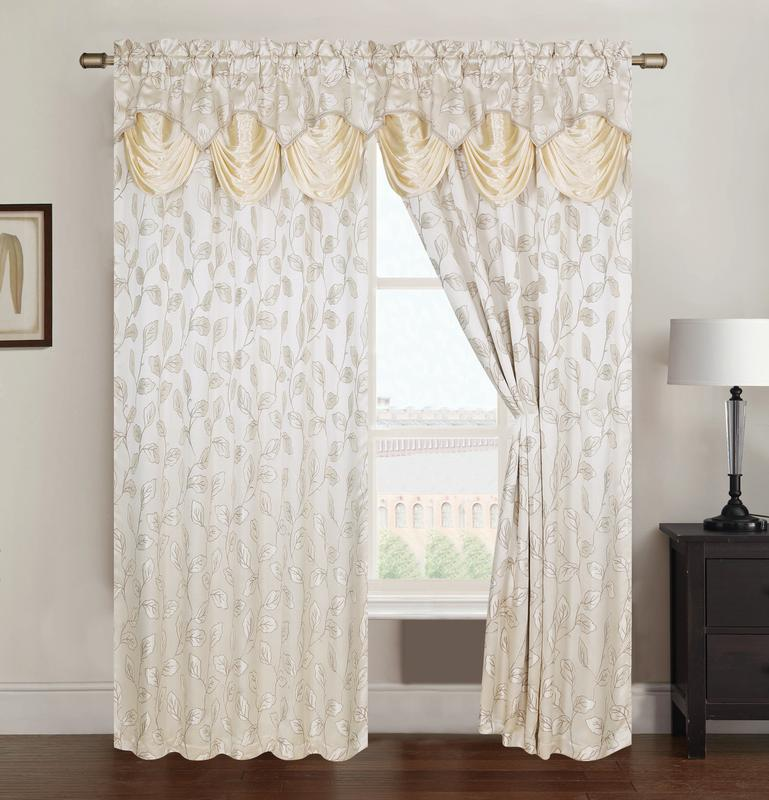 Brenda Jacquard 54 x 84 in. Rod Pocket Curtain Panel w/ Attached 18 in. Valance, Beige