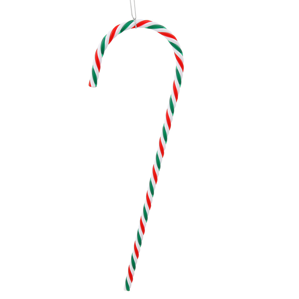 """Pack of 2 Red, Green and White Striped Candy Cane Christmas Ornaments 18"""""""