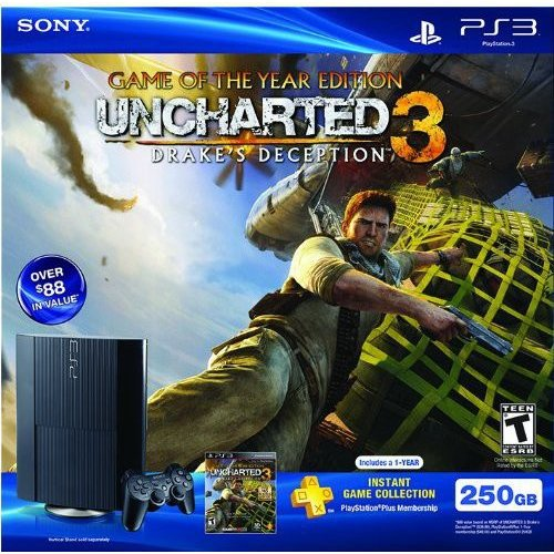 PS3 250GB Console w/ Uncharted 3 and 1-Year PlayStation Plus