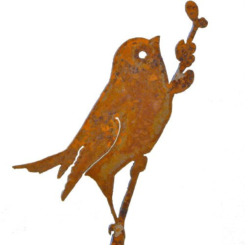 Elegant Garden Design Bird on a Willow, Steel Silhouette with Rusty Patina