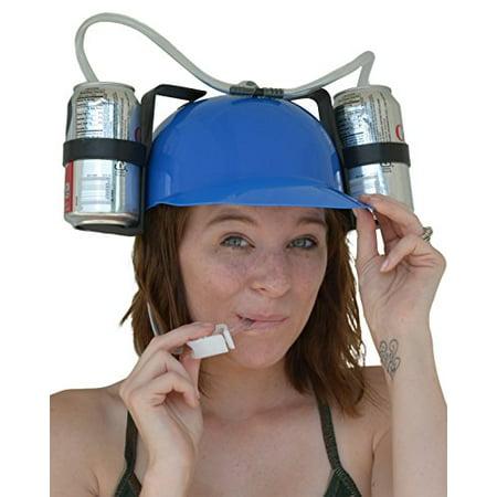 Fairly Odd Novelties Beer & Soda Guzzler Helmet & Drinking Hat, Blue - Soda Jerk Hats
