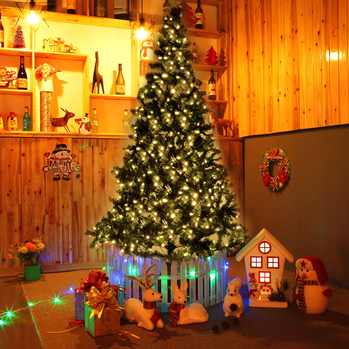 Costway 8 Ft Pre Lit Artificial Christmas Tree W/450 LED Lights U0026 Stand