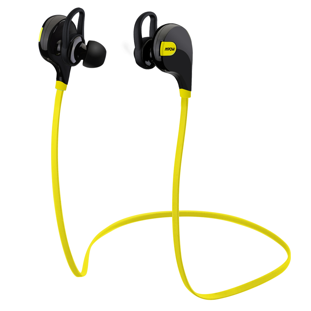 Mpow Swift Bluetooth 4.0 Wireless Sport Headphones Sweatproof Running Gym Exercise Headsets-Yellow