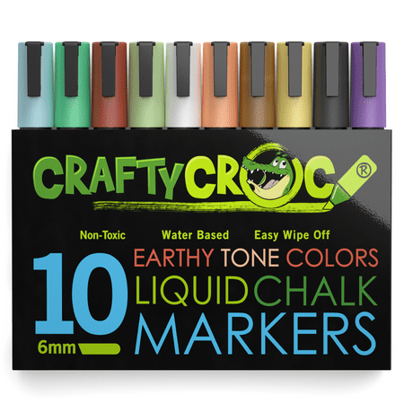 Crafty Croc Liquid Chalk Markers, Earth Tone Colors, 10-Pack (Chalk Marker)