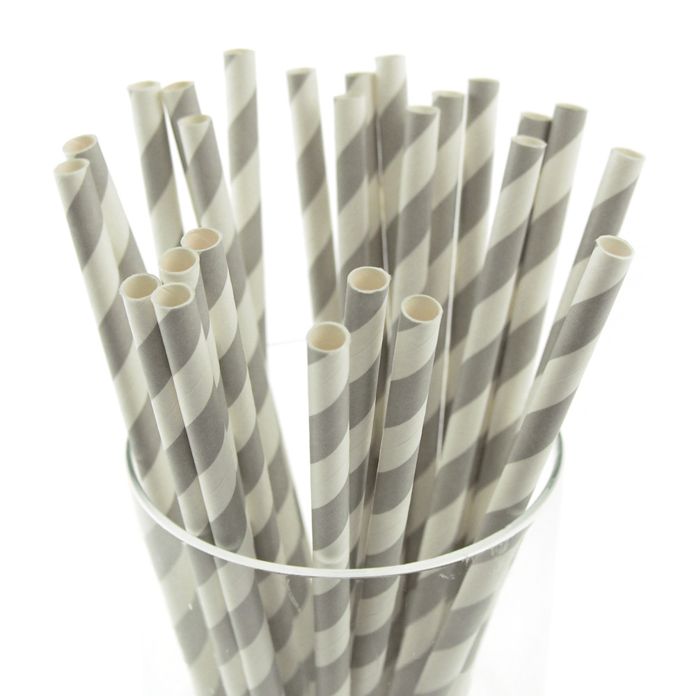 Candy Striped Paper Straws, 7-3/4-inch, 25-Piece