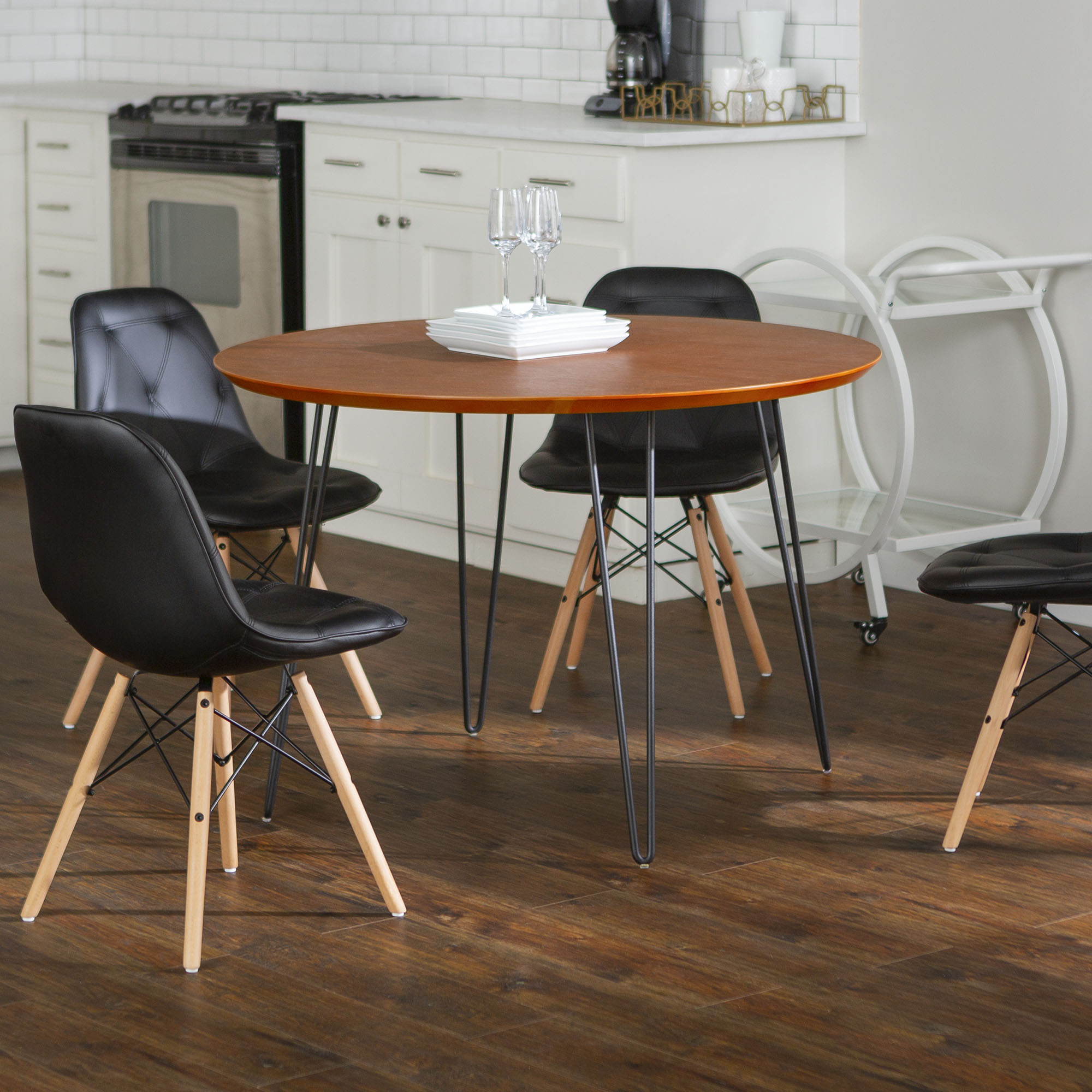 Manor Park Modern 5-Piece Dining Set with Wood Table and Blue Eames Style Chairs
