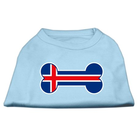 Bone Shaped Iceland Flag Screen Print Shirts Baby Blue XS 8