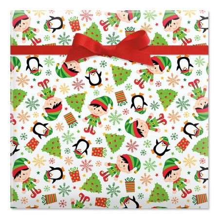 Elves Christmas Rolled Gift Wrap - 72 sq. ft. (Christmas Gift Wrapping Paper)