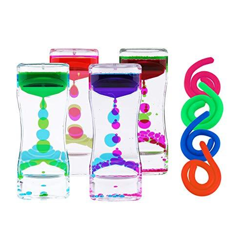Liquid Motion Bubbler Sensory Toys – 8 Pc Set Bundle Stretchy String Fidget Toys Timer Stress Relief Anxiety Relief Great for Toddler, Children, Kids, Adults, Seniors, Autism Hyperactivi
