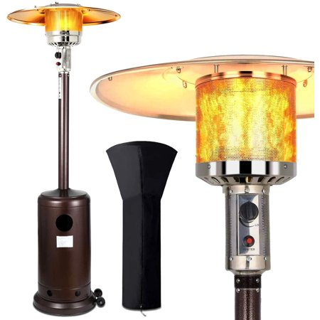 Patio Heater Propane Gas Portable Commercial Outdoor Heater 46000 BTU Floor Standing with Wheels and Waterproof Cover for Garden Wedding,Party