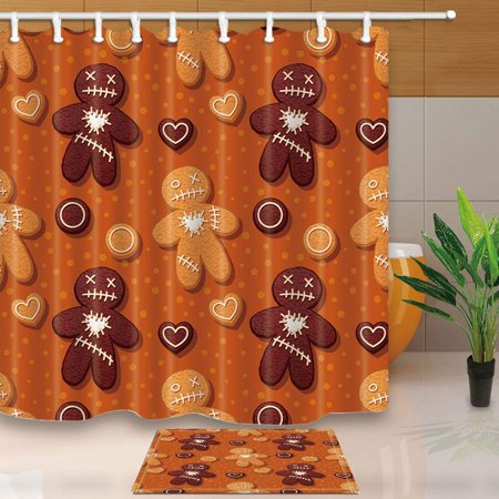 WOPOP Christmas Gingerbread Man Decor Biscuits Xmas Treats For Kids Party Shower Curtain 66x72 Inches With Floor Doormat Bath Rugs 157x236