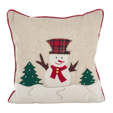 Poly Filled Accent Pillow (Saro Lifestyle Christmas Snowman Applique Design Accent Poly Filled Throw Pillow )