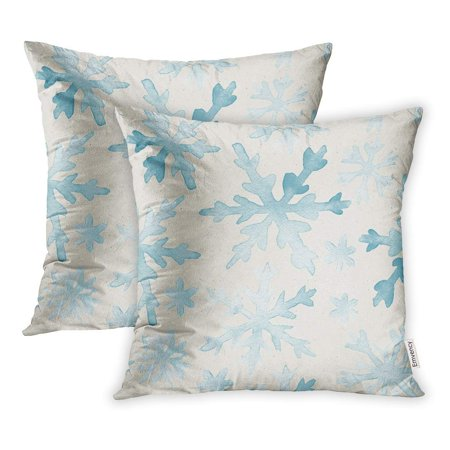 BSDHOME Blue Winter Watercolor Pattern on Christmas Teal Snowflakes Pillowcase Cushion Cover 20x20 inch, Set of 2 - image 1 of 1