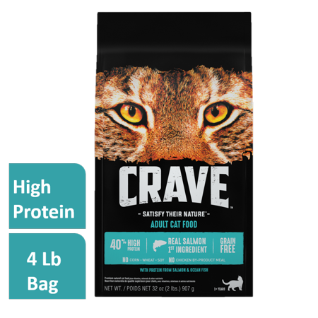 Crave Grain-Free With Protein From Salmon & Ocean Fish Dry Adult Cat Food, 4