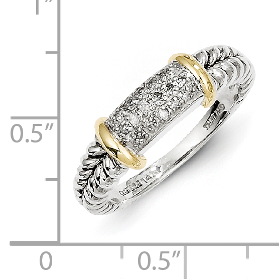 Sterling Silver Two Tone Silver And Gold Plated Sterling Silver w/Diamond Ring - image 1 of 3