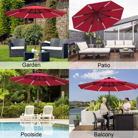 Gymax 9 FT Patio Waterproof Solar Umbrella LED Light Tilt Red - image 2 of 10