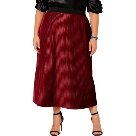 NY Collection Womens Plus Faux Velvet Pleated Midi Skirt Red 3X ()