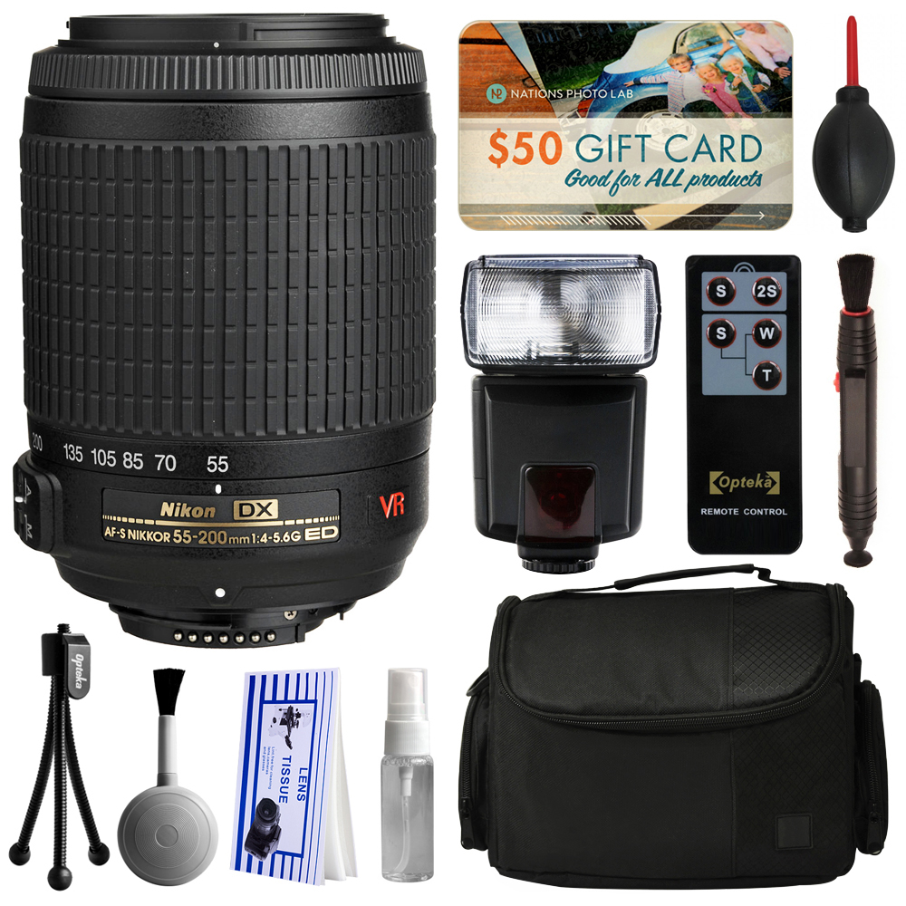 Nikon AF-S DX VR Zoom-NIKKOR 55-200mm f/4-5.6G IF-ED Lens 2166 with Starter Accessories Bundle includes E-TTL II Flash + Large Case + Remote Shutter Release + Cleaning Kit + $50 Gift Card for Prints