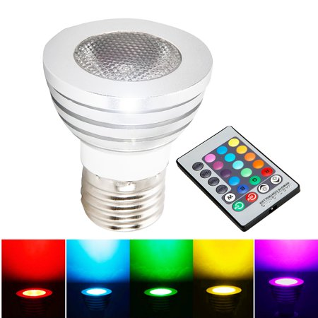 Ktaxon RGB LED Light Bulb With Remote Control, 5W, 400LM, E27 Base, Color Changing, Perfect for Birthday Party / KTV Decoration / Home Use / Bar / Wedding (White)