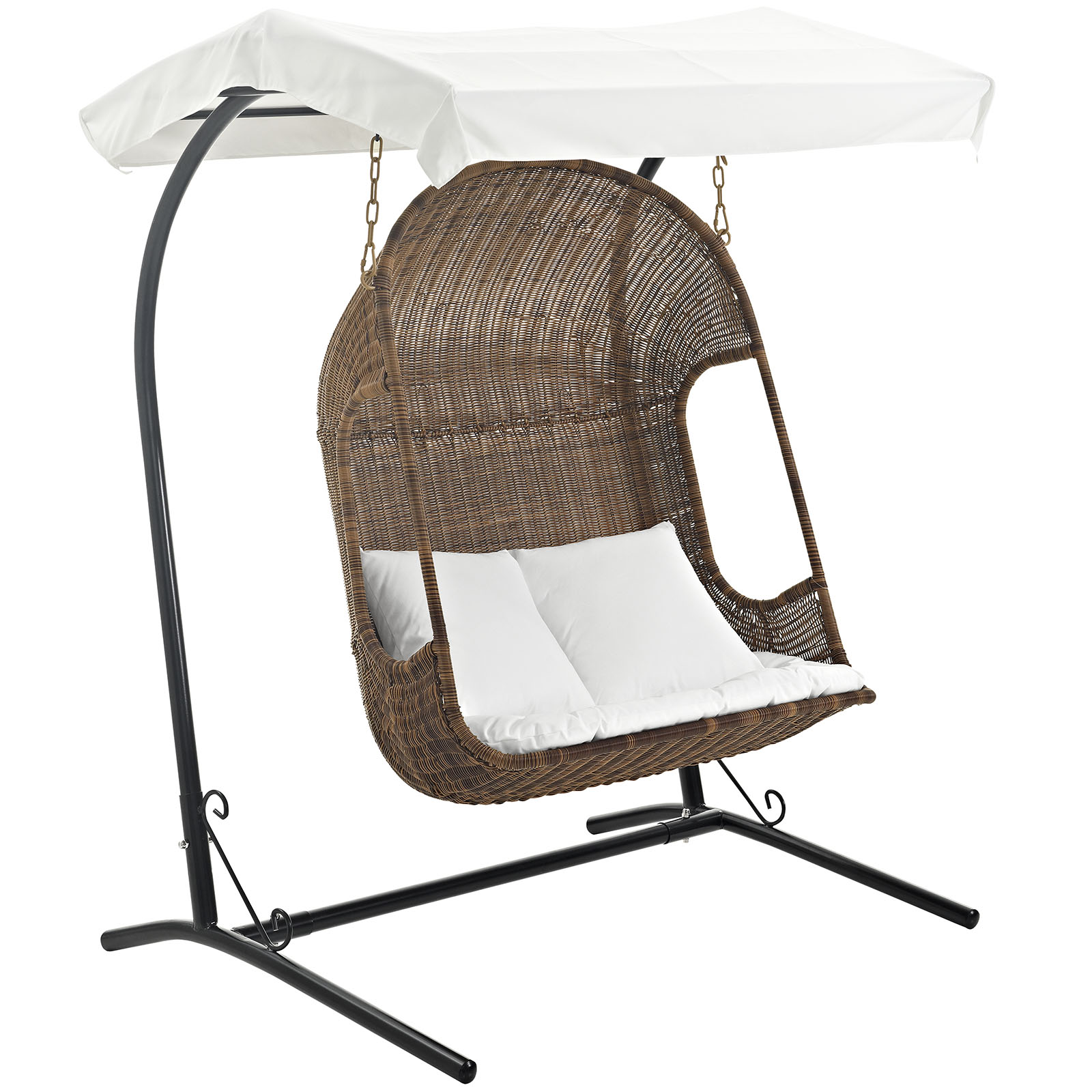Modern Contemporary Urban Design Outdoor Patio Balcony Swing Chair, White, Rattan