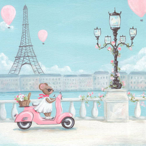Oopsy Daisy - Little Pink Vespa Canvas Wall Art 14x14, Kris Langenberg