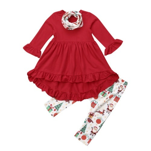 Toddler Kids Baby Girls Christmas Clothes Long Sleeve Ruffle Tops Dress+Leggings Pants scarf Outfits Set