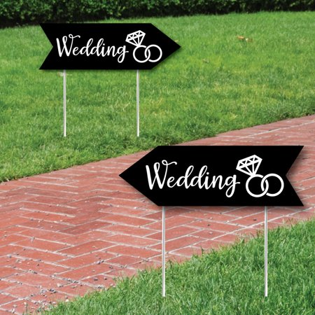 (Black Wedding Signs - Wedding Sign Arrow - Double Sided Directional Yard Signs - Set of 2 Wedding Signs)