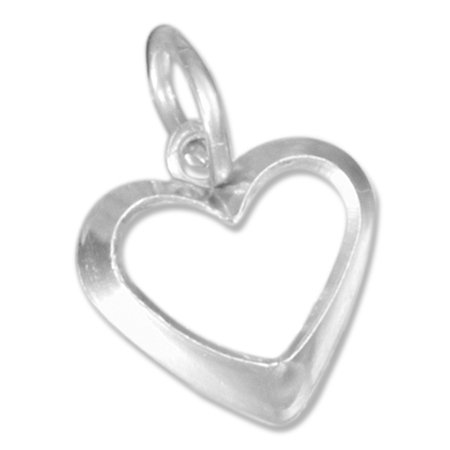 STERLING SILVER SMALL OPEN HEART CHARM](Small Charms)