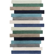 8' x 11' Colorful Stacked Stripes Beige, Blue, Green and Black Wool Area Throw Rug