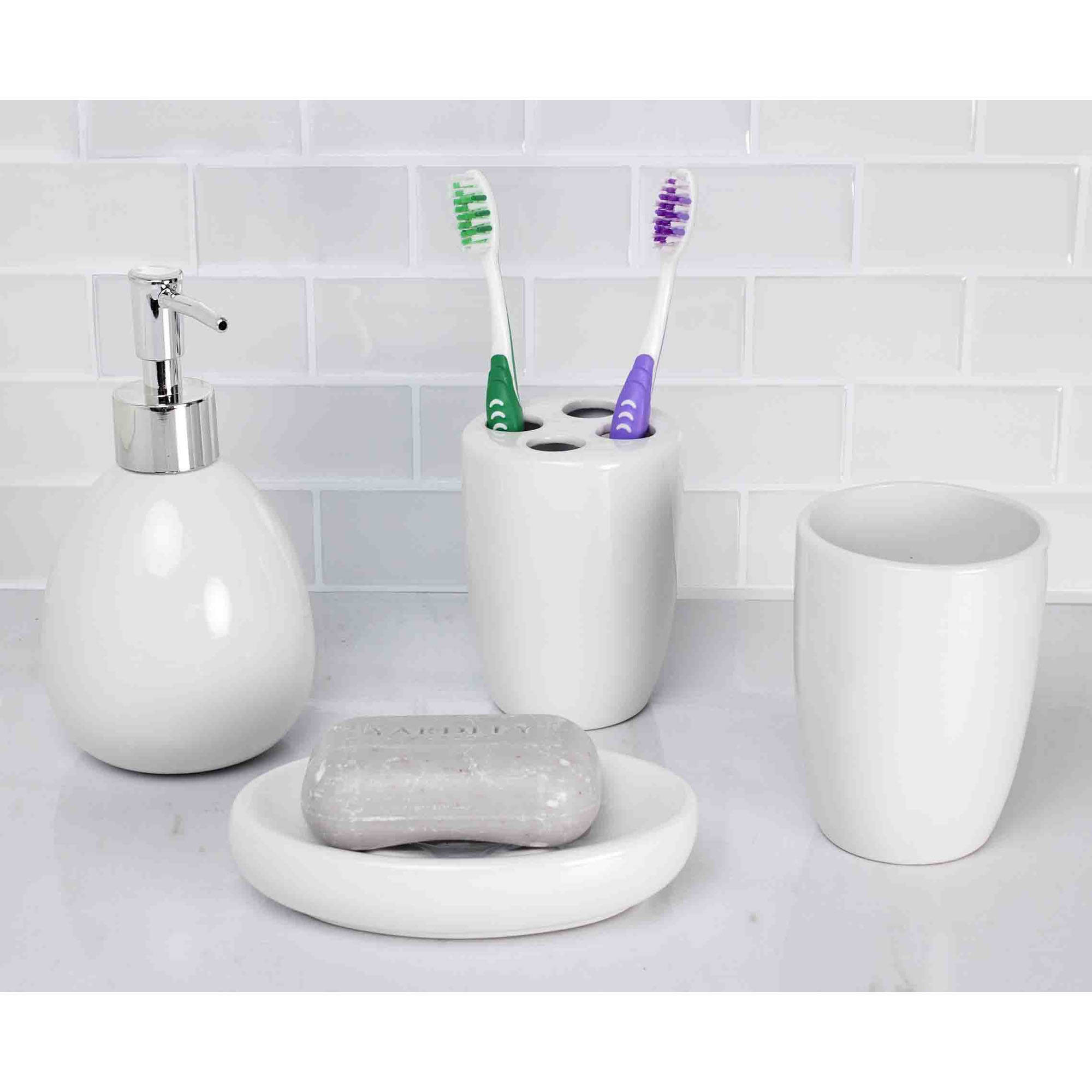 Home Basics 4-Piece White Bathroom Accessory Set - Walmart.com