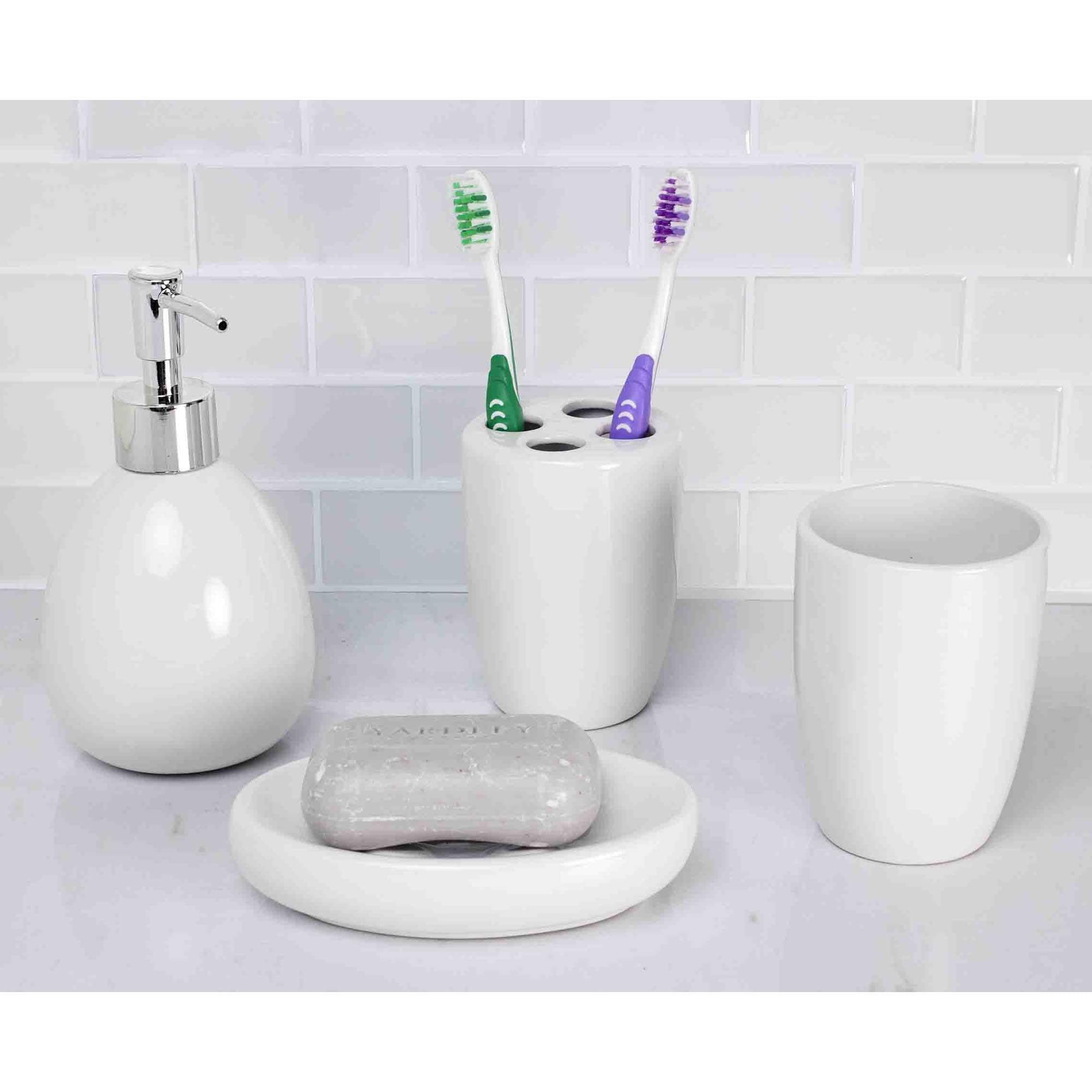 Home Basics 4-Piece White Bathroom Accessory Set