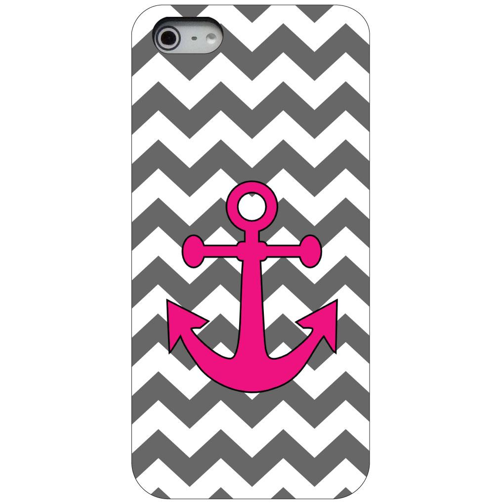 CUSTOM Black Hard Plastic Snap-On Case for Apple iPhone 5 / 5S / SE - Grey White Pink Chevron Anchor