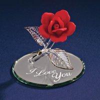 Red Rose I Love You Glass Figurine Floral Garden Nautical Keepsake Glas Baron