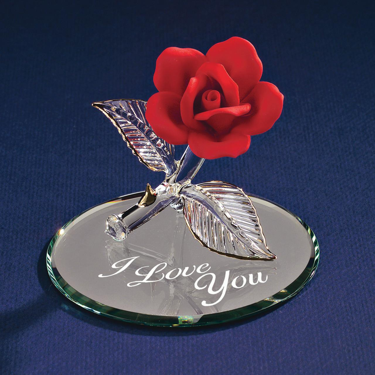 Red Rose I Love You Glass Figurine Floral Garden Nautical Keepsake Glas Baron For Women